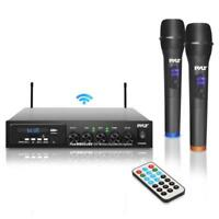 Pyle Wireless Microphone & Bluetooth Receiver System, Audio Sound Mixer (2) Mics