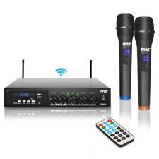 Pyle Wireless Microphone & Bluetooth Receiver System, Audio Sound Mixer (2) Mics