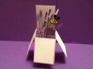 Handmade card Happy Birthday/ Personalised-lavender and bee- pop up design
