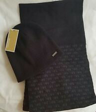 Michael Kors Men's Reversible Scarf and Hat Set, Black/Grey in Gift Box $90
