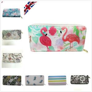 Womens Ladies Zip Around Wallet Coin Purse Flamingo Owl Card Holder Girls Gift