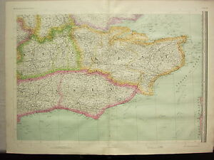 1868 HAND COLOURED MAP ~ SUSSEX KENT SURREY ~ BRIGHTON