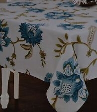 Blue Colonial Flower Tablecloth~Williamsburg Look~Vine~White~60 R~Fabric~NEW