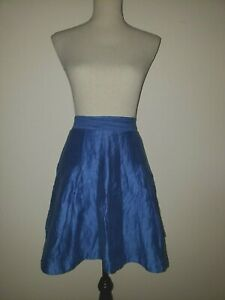 ANTHROPOLOGIE Skirt by MAEVE Sz 2 Royal Blue Textured Linen Fit Flare Skater