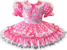 """Carla"" CUSTOM FIT Pink Satin Polka Dots Adult Little Girl Sissy Dress LEANNE"