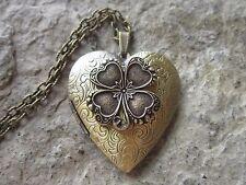 BRONZE IRISH SHAMROCK CLOVER BRONZE HEART LOCKET - UNIQUE - ST. PATRICK'S DAY