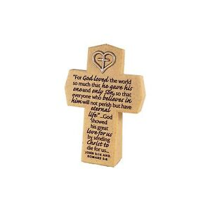 LCP Scripture Resin Heart Symbol Cross For God So Loved The World