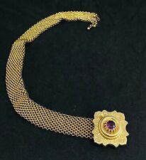 "Stone Adjustable Bracelet 10"" Repair J10 Antique Victorian Gold Tone Gf ? Purple"
