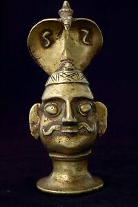 Antique ethnic small bronze Shiva Mukhalingam with cobra, India 19th century