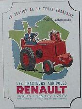 PUBLICITE RENAULT LES TRACTEURS AGRICOLES DE 1946 FRENCH AD PUB RARE COULEUR
