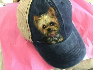 YORKIE HAND PAINTED CAP/ HAT JUST SUPER!