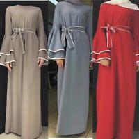 Ramadan Muslim Women Vintage Long Maxi Dress Dubai Abaya Jilbab Cocktail Robe
