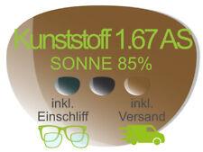 2 Brillengläser inkl. Einschliff/Versand (Kunststoff 1,67 AS SONNE TOP)