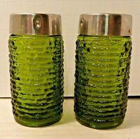 Anchor Hocking Serreno Salt Pepper Shaker Set Green Glass Metal Tops Mid-Century
