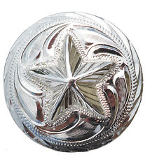 1 1/2'' Hand engraved Silver Star Concho # T278