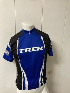 Men's Trek Blue Short Sleeve Bontrager Size Medium Cycling Jersey Back Pockets