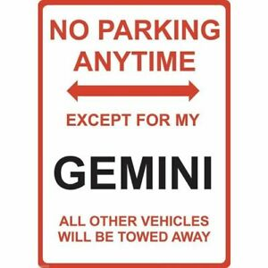"""Metal Sign - """"NO PARKING EXCEPT FOR MY GEMINI"""" Holden"""