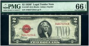 "$2 1928F LEGAL TENDER Fr#1507 PMG GEM UNCIRCULATED 66 EPQ NEARLY PERFECT ""DEUCE"""