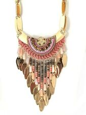 "Necklace Dickey "" Indian "" Pearl Pink, Wood & Pendant Metal / Chic Ethnic"