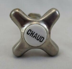 """Antique Vintage Chrome Chaud (Hot) Cross Handle and Stem 2.25""""W 3.75""""L"""
