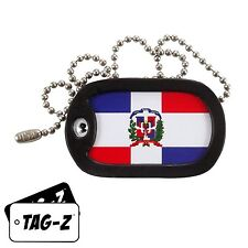 Military Dog Tag Necklace -  DOMINICAN REPUBLIC FLAG with a Dog Tag Silencer