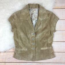 June Suede Leather Short Sleeve Blazer Jacket Womens M