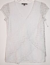 NY Collection Women Top Blouse Embellished Glitter Size Small Cap Sleeves White