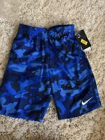 NWT NIKE Boys Swimsuit Swim Trunk Volley Lined Logo Shorts Blue Camo Sz Medium