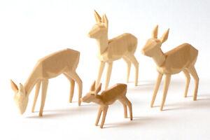 Rehe geschnitzt, geschnitzte Rehgruppe 6cm, natur, Reh, Krippe, Krippenfiguren