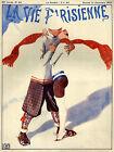 Vie Parisienne Cover Fashion Couple Kiss Ski Skiing Vintage Poster Repro FREE SH