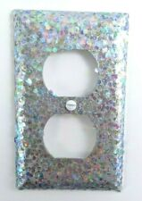 Silver & White Opal Glitter ~ Bling Light Switch Plates, Outlets Covers, Rockers
