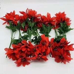"12"" Poinsettia Bush x7 Red Darice, Set of 7 Poinsettias"