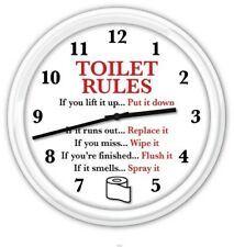 Bathroom SILENT Wall Clock - Toilet Rules Toilet Paper Restroom Humor FUNNY GIFT