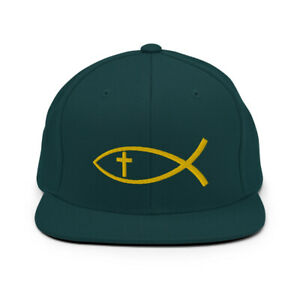 Christian Fish Cross Symbol Embroidered Snapback Hat Cap - Jesus Fish Hat