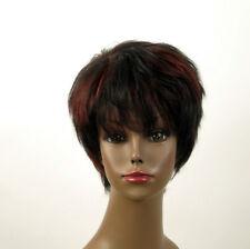 perruque femme afro 100% cheveux naturel courte méchée noir/rouge JEAN 04/1b410