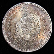Mexico: 1948 Mo CUAUHTEMOC Silver CINCO 5 PESOS. Superb Old Toning!!!