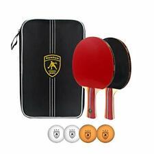 Table Tennis Racket Ping Pong Paddle Set Training Racquet Kit Portable (B-2pack)
