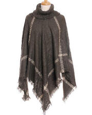 Gray and Multi Colored Turtleneck Poncho