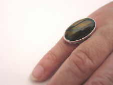 925 Sterling Silver Ring With Tiger Eye UK P 1/2, US 8 (rg0587)