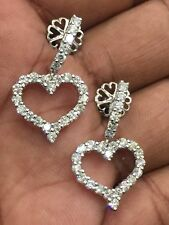 Pave 2.60 Cts F/VS1 Round Brilliant Cut Diamonds Heart Earrings In Fine 14K Gold