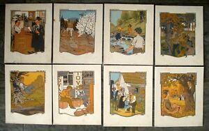 8 Gustave Baumann woodcut woodblock prints 1912 originals All the Year Round