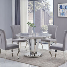 Riccardo Grey Marble & Chrome 1.3m Round 5 Piece Dining Set (Grey Liyana Chairs)