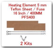 """2 Heating Elements 5mm + 2 Teflon Sheet  For Impulse Sealer 16"""" / 400mm PFS400"""