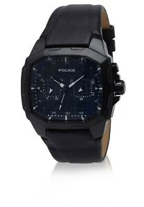 MEN'S/GENTS WATCH POLICE BLACK LEATHER STRAP RRP £169 WITH GIFT BOX