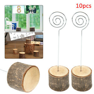 10Pcs Rustic Wedding Table Wood Place Number Name Card Stand Holder Decor