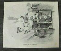 HO4) Kunst Druck 1885-1900 Budapest Ungarn Garküche am Quai Küche Essen Verkauf