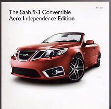 Saab 9-3 Convertible Aero Independence Edition 2011 UK Market Sales Brochure