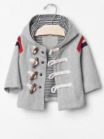 Baby GAP Boys Size 6-12 Month NEW Gray Stripe Hood Spring Toggle Coat Jacket $45