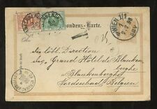 POSTAGE DUE 1898 BELGIUM 15c on STATIONERY CARD from AUSTRIA...BLANKENBERG