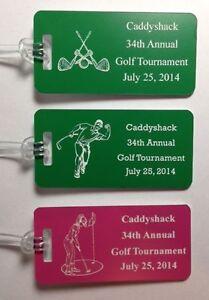 Set of 100 Plastic Custom Engraved Golf Tournament Bag Tags 14 Colors
